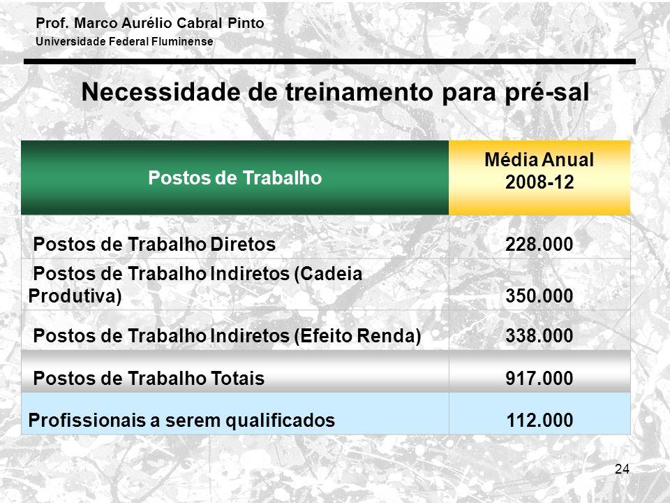 Prof. Marco Aurélio Cabral Pinto Universidade Federal Fluminense 24 Necessidade de treinamento para pré-sal Postos de Trabalho Média Anual 2008-12 Pos