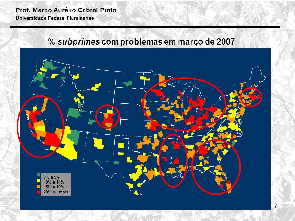 Prof. Marco Aurélio Cabral Pinto Universidade Federal Fluminense 7 % subprimes com problemas em março de 2007 0% a 9% 10% a 14% 15% a 19% 20% ou mais