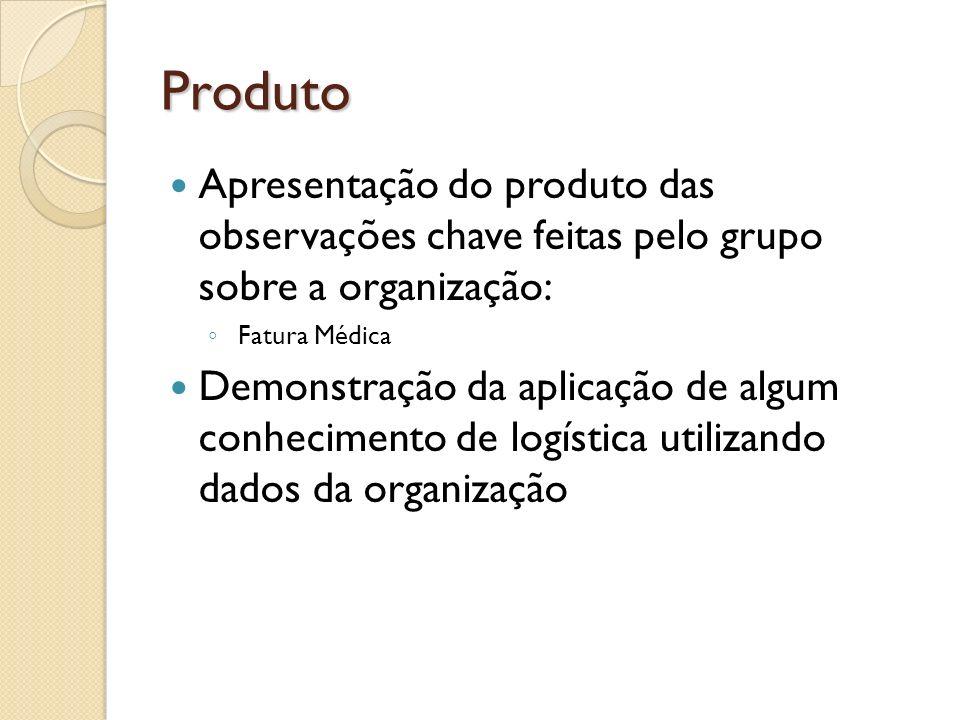 Produto Apresentação do produto das observações chave feitas pelo grupo sobre a organização: Fatura Médica Demonstração da aplicação de algum conhecim