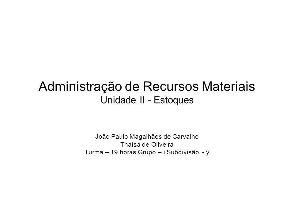 Administração de Recursos Materiais Unidade II - Estoques João Paulo Magalhães de Carvalho Thaísa de Oliveira Turma – 19 horas Grupo – i Subdivisão -