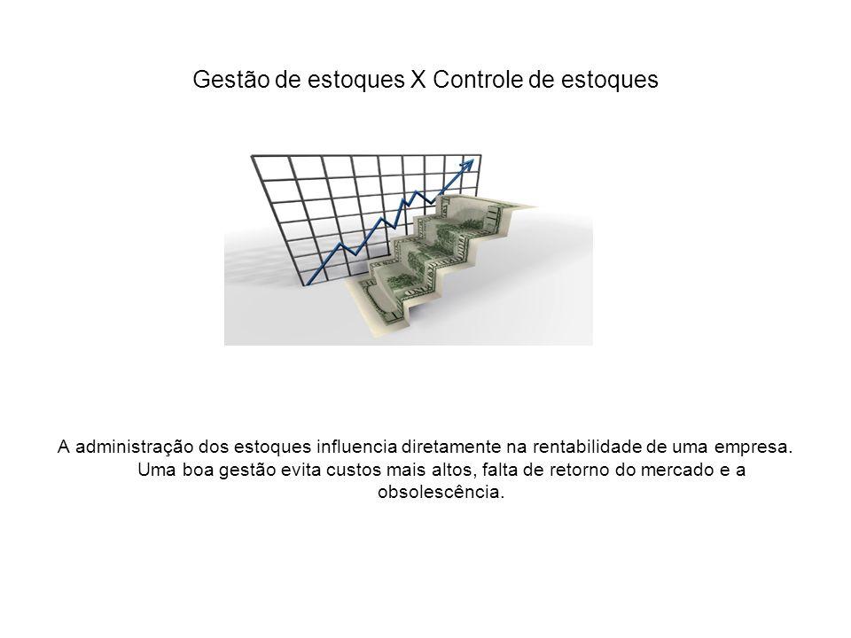 Gestão de estoques X Controle de estoques A administração dos estoques influencia diretamente na rentabilidade de uma empresa. Uma boa gestão evita cu