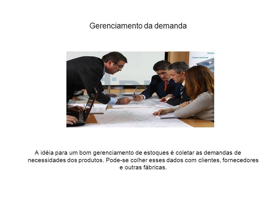 Gerenciamento da demanda A idéia para um bom gerenciamento de estoques é coletar as demandas de necessidades dos produtos. Pode-se colher esses dados
