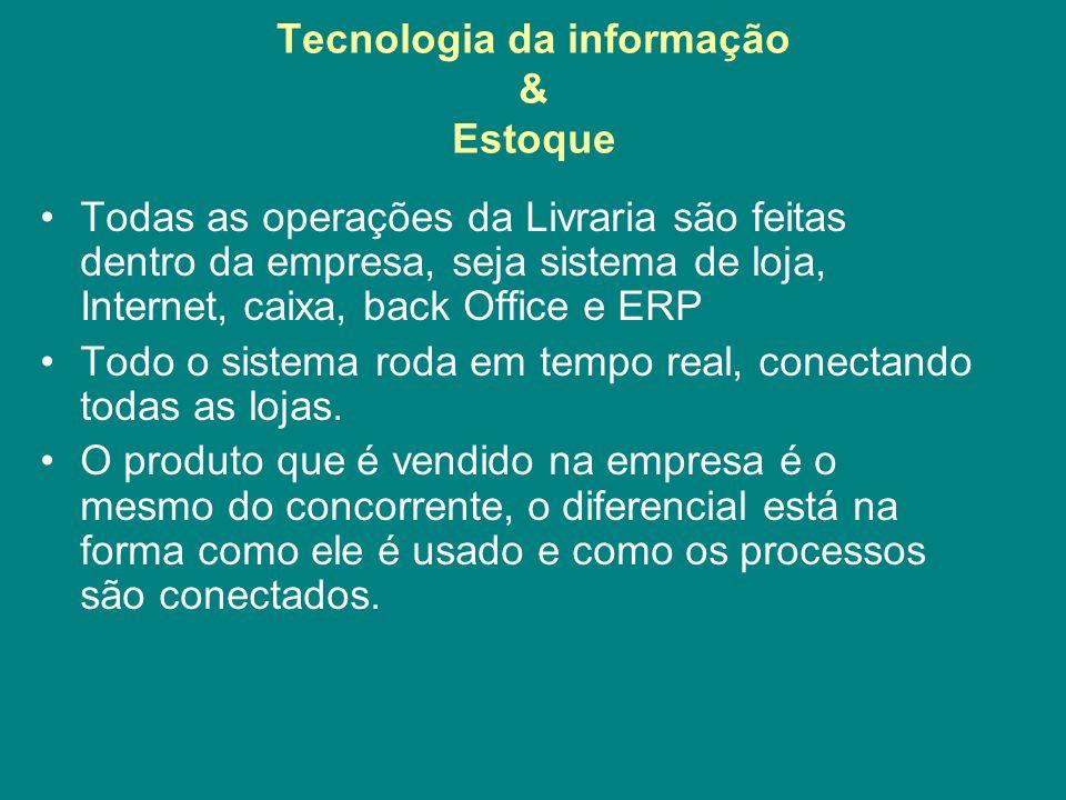 Tecnologia da informação & Estoque Todas as operações da Livraria são feitas dentro da empresa, seja sistema de loja, Internet, caixa, back Office e E