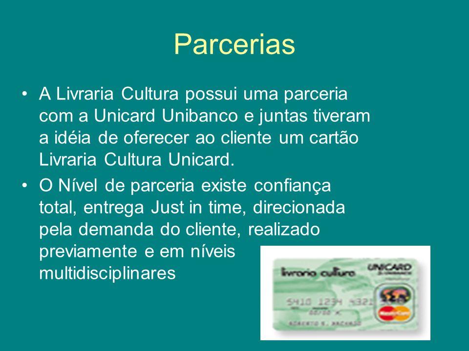 Parcerias A Livraria Cultura possui uma parceria com a Unicard Unibanco e juntas tiveram a idéia de oferecer ao cliente um cartão Livraria Cultura Uni