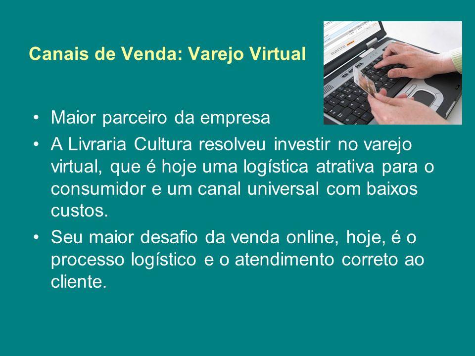 Canais de Venda: Varejo Virtual Maior parceiro da empresa A Livraria Cultura resolveu investir no varejo virtual, que é hoje uma logística atrativa pa