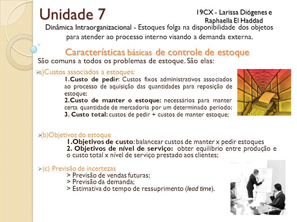 Unidade 7 Características básicas de controle de estoque São comuns a todos os problemas de estoque. São elas: (b)Objetivos do estoque 1.Objetivos de