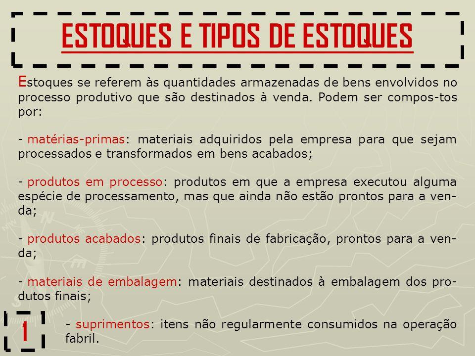 1 ESTOQUES E TIPOS DE ESTOQUES - matérias-primas: materiais adquiridos pela empresa para que sejam processados e transformados em bens acabados; - pro