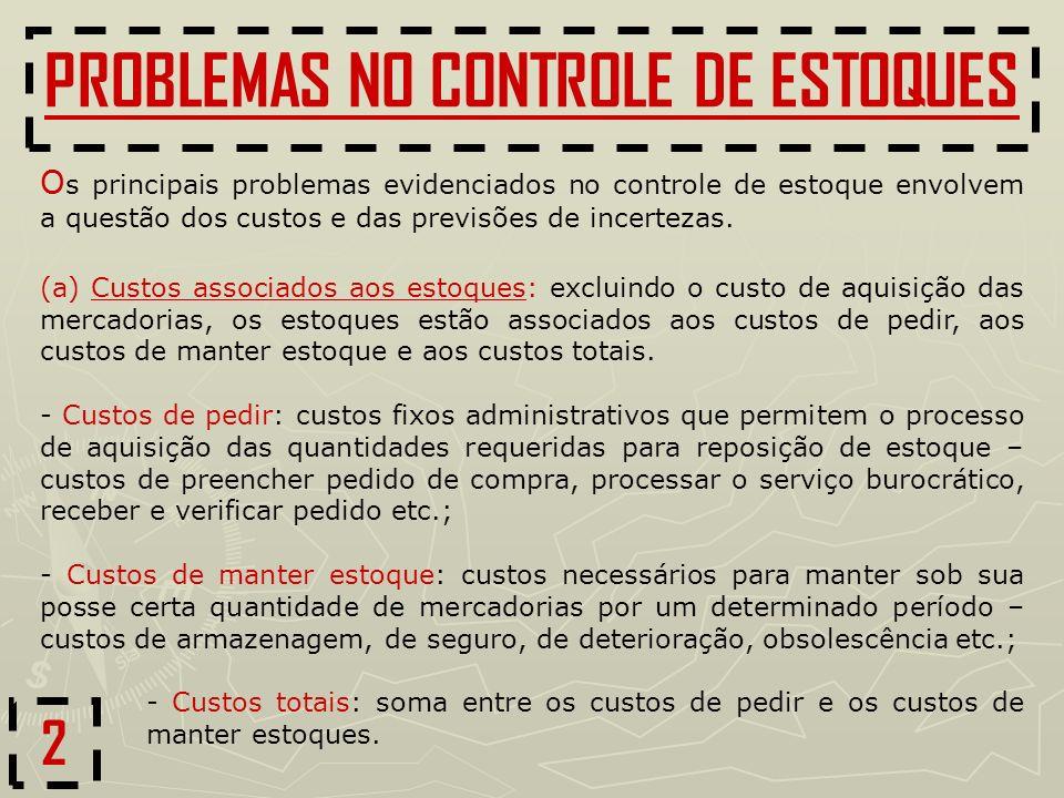 2 PROBLEMAS NO CONTROLE DE ESTOQUES (a) Custos associados aos estoques: excluindo o custo de aquisição das mercadorias, os estoques estão associados a