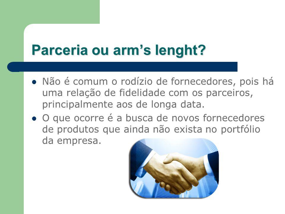 Parceria ou arms lenght? Não é comum o rodízio de fornecedores, pois há uma relação de fidelidade com os parceiros, principalmente aos de longa data.