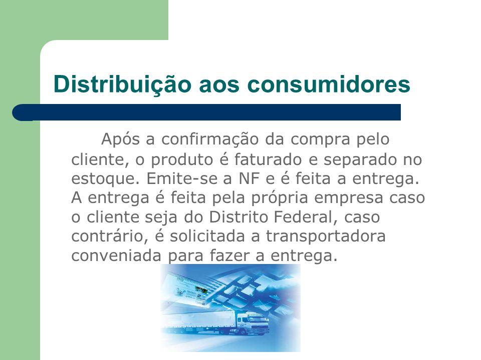 Distribuição aos consumidores Após a confirmação da compra pelo cliente, o produto é faturado e separado no estoque. Emite-se a NF e é feita a entrega