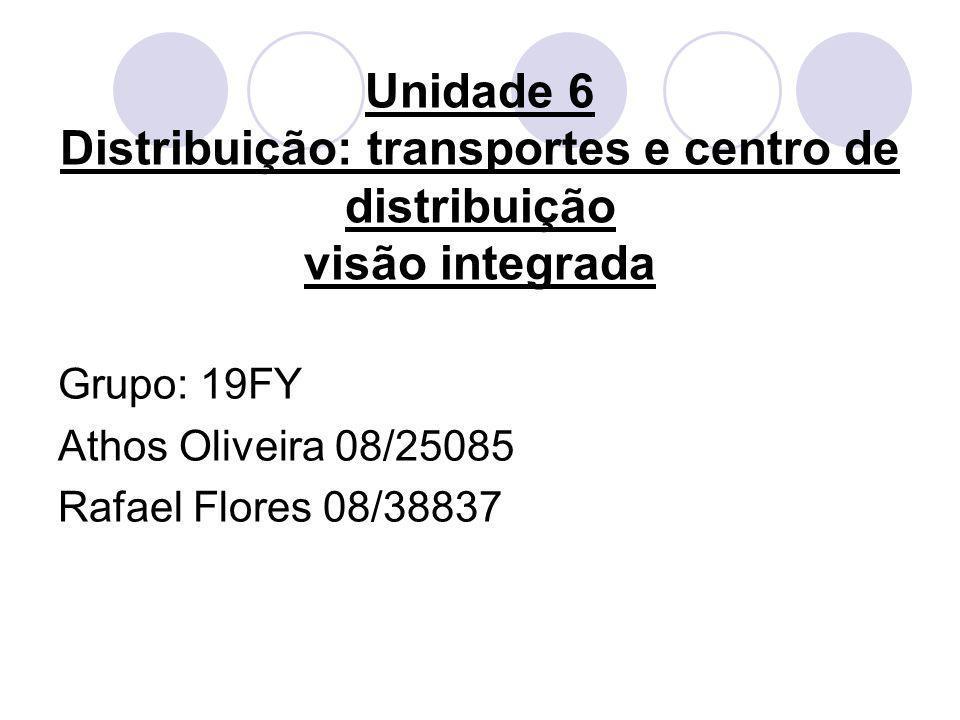 Unidade 6 Distribuição: transportes e centro de distribuição visão integrada Grupo: 19FY Athos Oliveira 08/25085 Rafael Flores 08/38837
