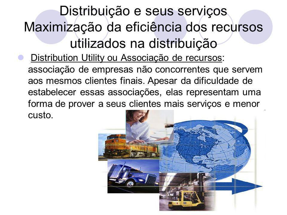 Distribuição e seus serviços Maximização da eficiência dos recursos utilizados na distribuição Distribution Utility ou Associação de recursos: associação de empresas não concorrentes que servem aos mesmos clientes finais.