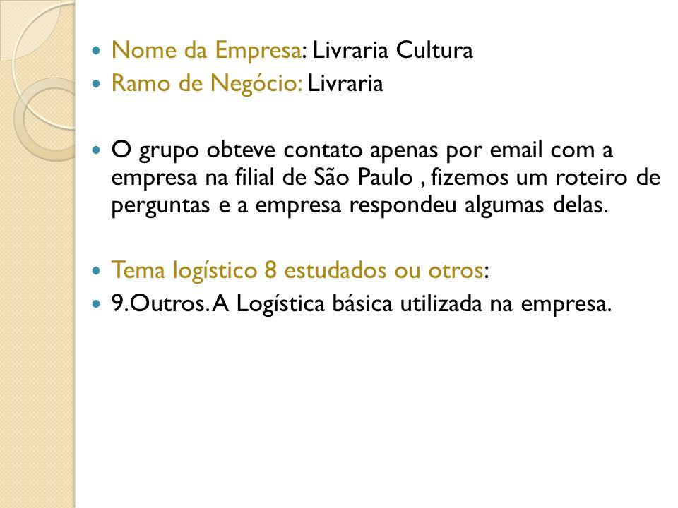 Nome da Empresa: Livraria Cultura Ramo de Negócio: Livraria O grupo obteve contato apenas por email com a empresa na filial de São Paulo, fizemos um r