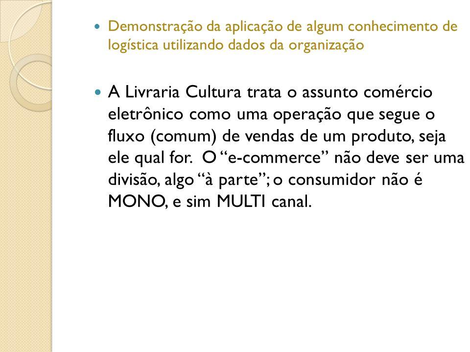 Demonstração da aplicação de algum conhecimento de logística utilizando dados da organização A Livraria Cultura trata o assunto comércio eletrônico co