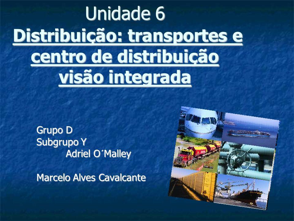 Unidade 6 Distribuição: transportes e centro de distribuição visão integrada Grupo D Grupo D Subgrupo Y Subgrupo Y Adriel O´Malley Adriel O´Malley Mar