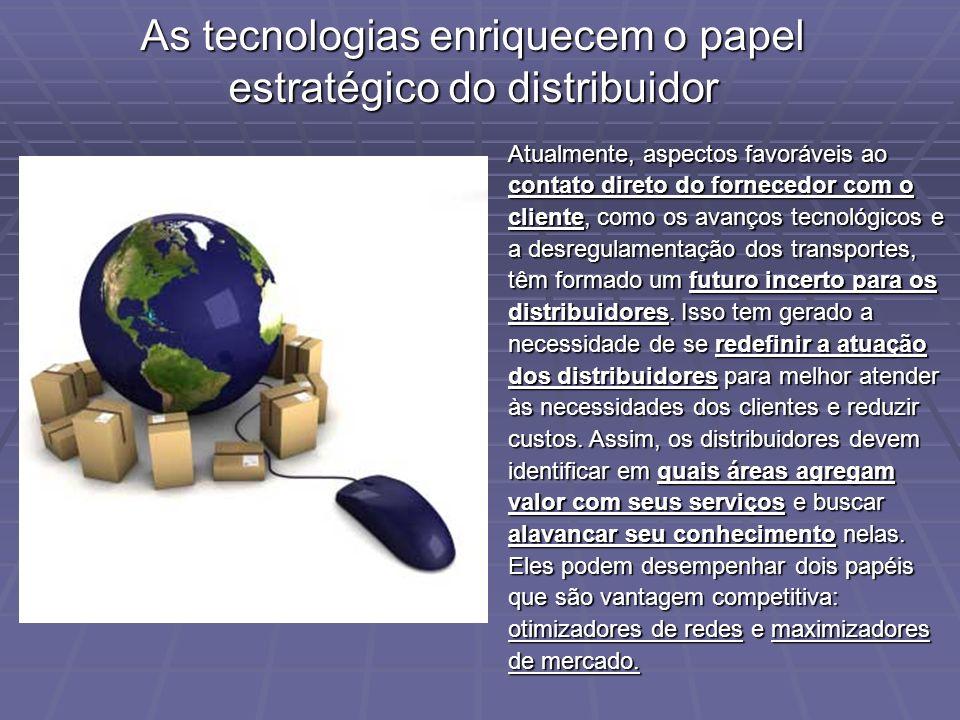 As tecnologias enriquecem o papel estratégico do distribuidor Atualmente, aspectos favoráveis ao contato direto do fornecedor com o cliente, como os a