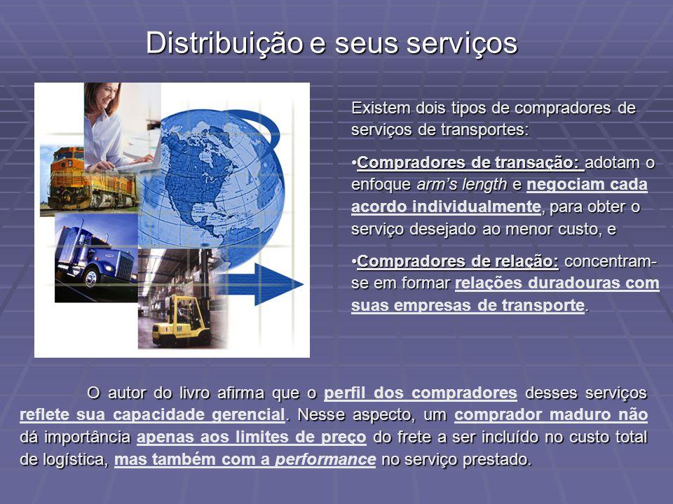 Distribuição e seus serviços Existem dois tipos de compradores de serviços de transportes: Compradores de transação: adotam o enfoque arms length e, p