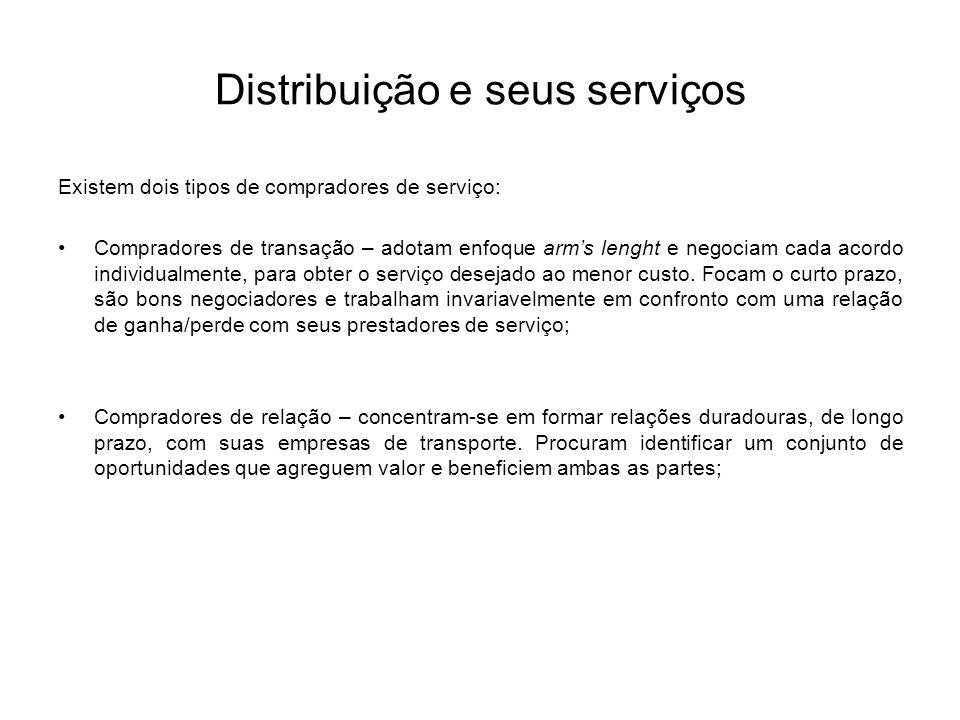 Distribuição e seus serviços Existem dois tipos de compradores de serviço: Compradores de transação – adotam enfoque arms lenght e negociam cada acord
