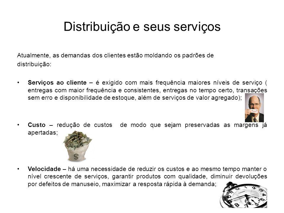 Distribuição e seus serviços Atualmente, as demandas dos clientes estão moldando os padrões de distribuição: Serviços ao cliente – é exigido com mais
