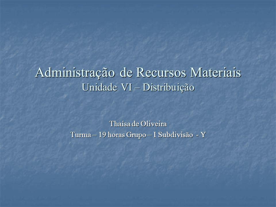 Administração de Recursos Materiais Unidade VI – Distribuição Thaísa de Oliveira Turma – 19 horas Grupo – I Subdivisão - Y
