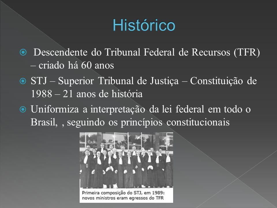 Descendente do Tribunal Federal de Recursos (TFR) – criado há 60 anos STJ – Superior Tribunal de Justiça – Constituição de 1988 – 21 anos de história Uniformiza a interpretação da lei federal em todo o Brasil,, seguindo os princípios constitucionais