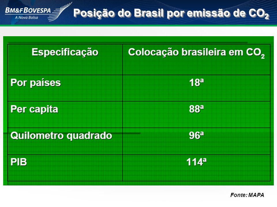 Posição do Brasil por emissão de CO 2 Fonte: MAPA