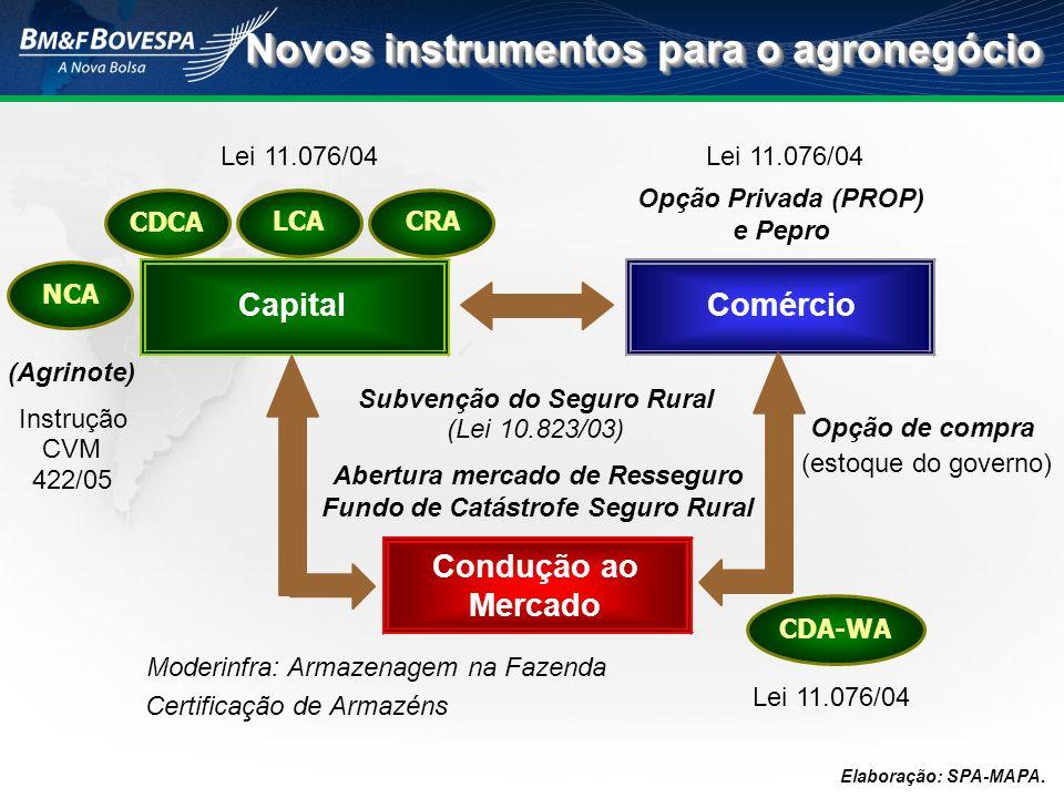 Elaboração: SPA-MAPA. Opção de compra (estoque do governo) Moderinfra: Armazenagem na Fazenda Certificação de Armazéns 422/05 Abertura mercado de Ress