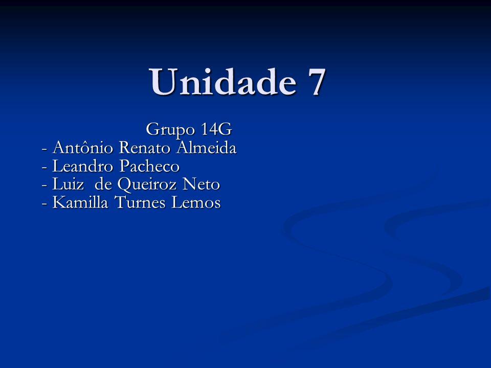 Unidade 7 Grupo 14G - Antônio Renato Almeida - Antônio Renato Almeida - Leandro Pacheco - Leandro Pacheco - Luiz de Queiroz Neto - Luiz de Queiroz Neto - Kamilla Turnes Lemos - Kamilla Turnes Lemos