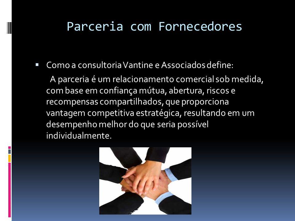 Parceria com Fornecedores Como a consultoria Vantine e Associados define: A parceria é um relacionamento comercial sob medida, com base em confiança m