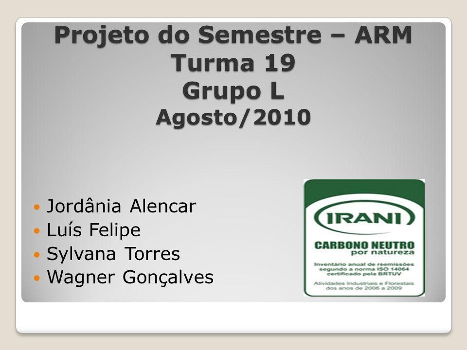 Projeto do Semestre – ARM Turma 19 Grupo L Agosto/2010 Jordânia Alencar Luís Felipe Sylvana Torres Wagner Gonçalves