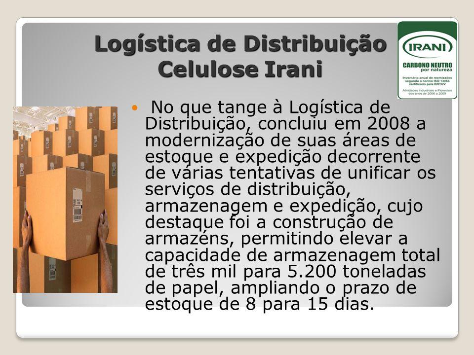 Logística de Distribuição Celulose Irani No que tange à Logística de Distribuição, concluiu em 2008 a modernização de suas áreas de estoque e expediçã