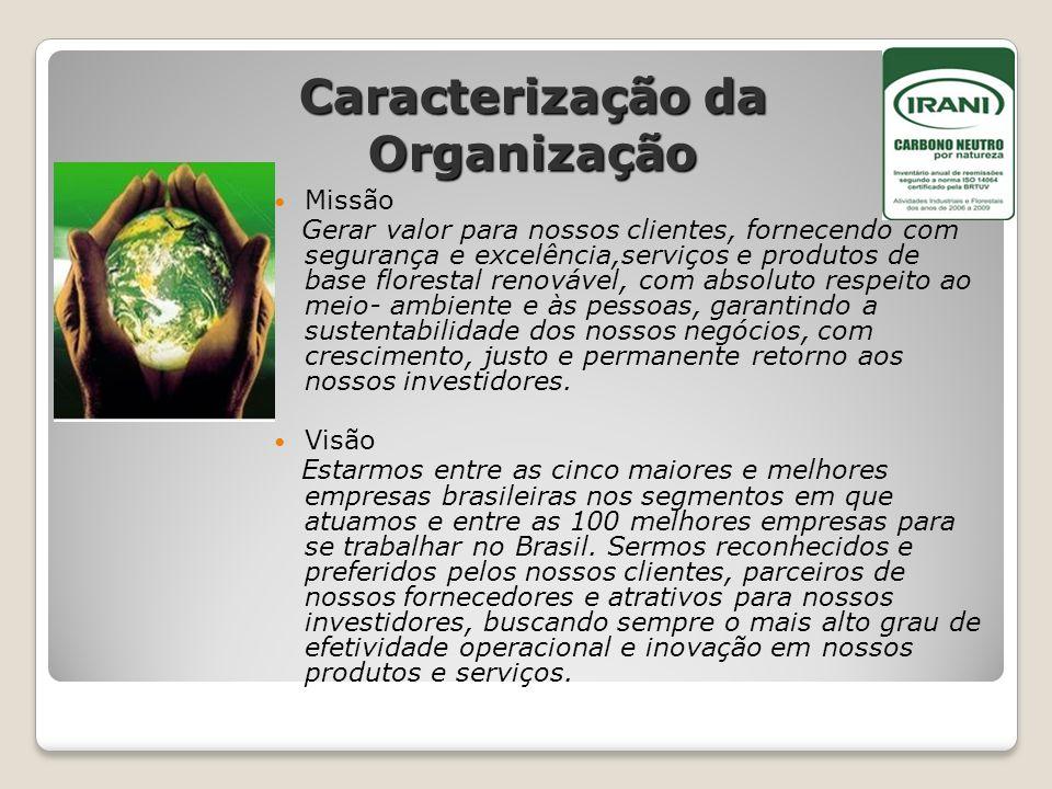 Caracterização da Organização Missão Gerar valor para nossos clientes, fornecendo com segurança e excelência,serviços e produtos de base florestal ren