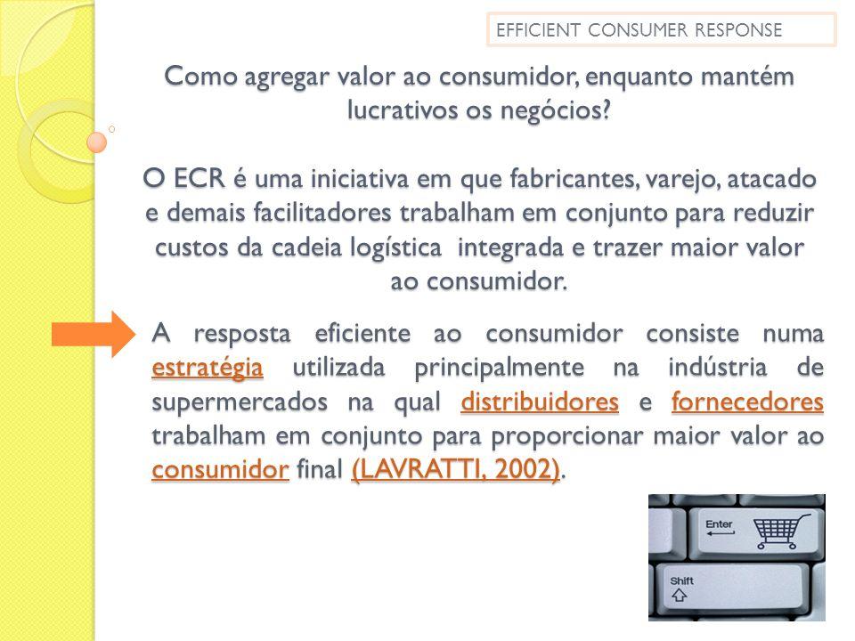 Como agregar valor ao consumidor, enquanto mantém lucrativos os negócios? O ECR é uma iniciativa em que fabricantes, varejo, atacado e demais facilita