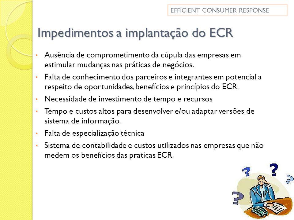 Impedimentos a implantação do ECR Ausência de comprometimento da cúpula das empresas em estimular mudanças nas práticas de negócios. Falta de conhecim