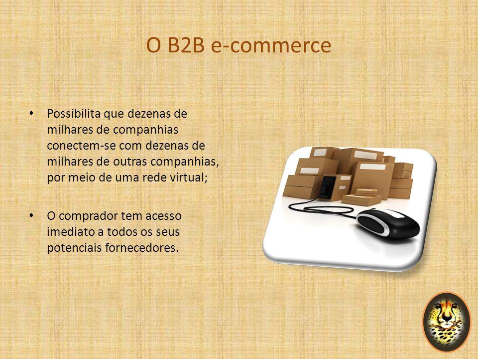 O B2B e-commerce Possibilita que dezenas de milhares de companhias conectem-se com dezenas de milhares de outras companhias, por meio de uma rede virt
