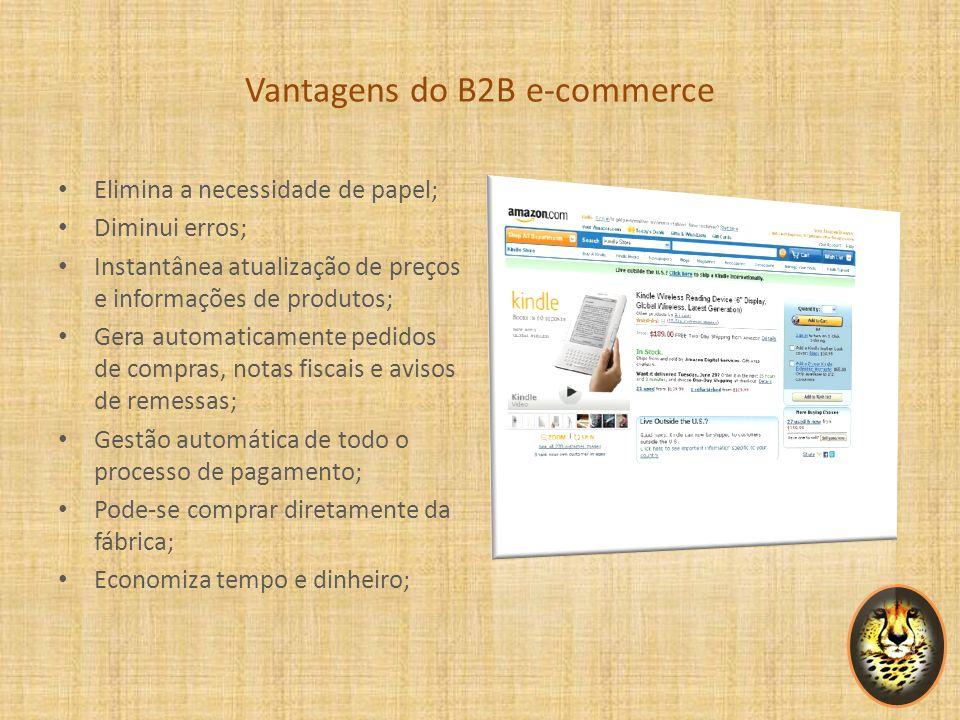 Vantagens do B2B e-commerce Elimina a necessidade de papel; Diminui erros; Instantânea atualização de preços e informações de produtos; Gera automatic