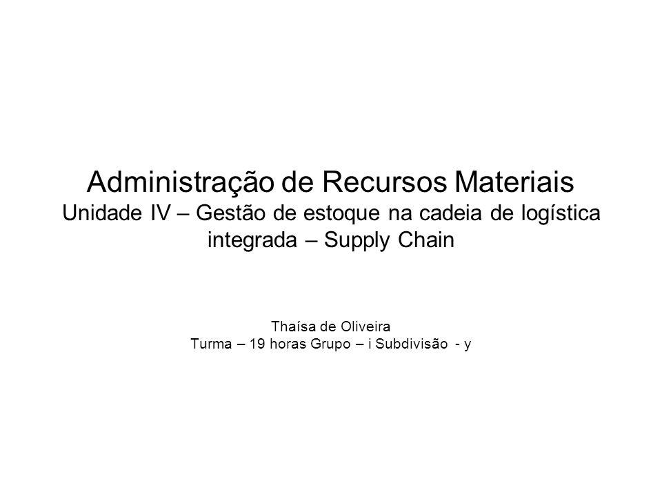 Administração de Recursos Materiais Unidade IV – Gestão de estoque na cadeia de logística integrada – Supply Chain Thaísa de Oliveira Turma – 19 horas Grupo – i Subdivisão - y