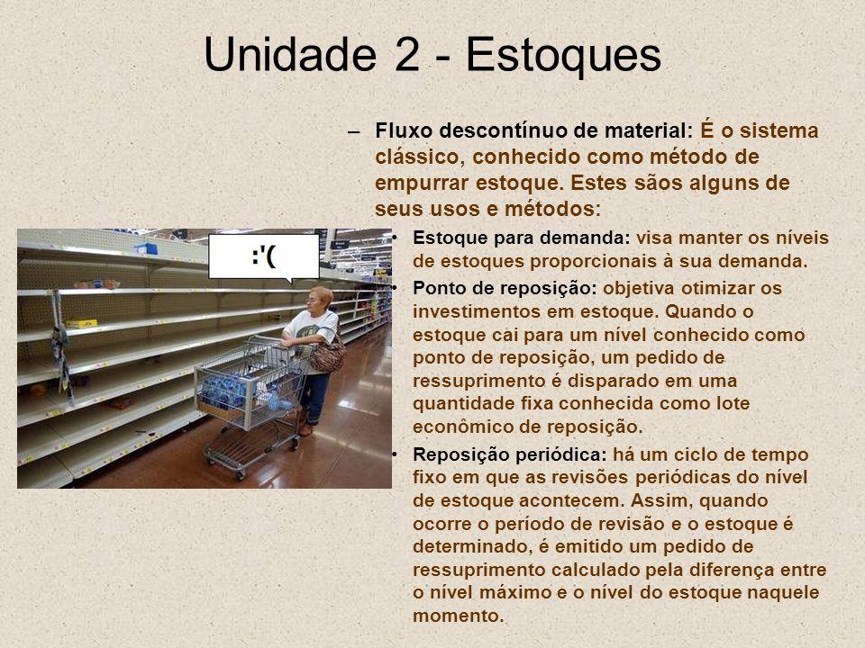 Unidade 2 - Estoques –Fluxo descontínuo de material: É o sistema clássico, conhecido como método de empurrar estoque. Estes sãos alguns de seus usos e