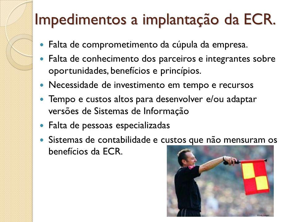 Impedimentos a implantação da ECR. Falta de comprometimento da cúpula da empresa. Falta de conhecimento dos parceiros e integrantes sobre oportunidade