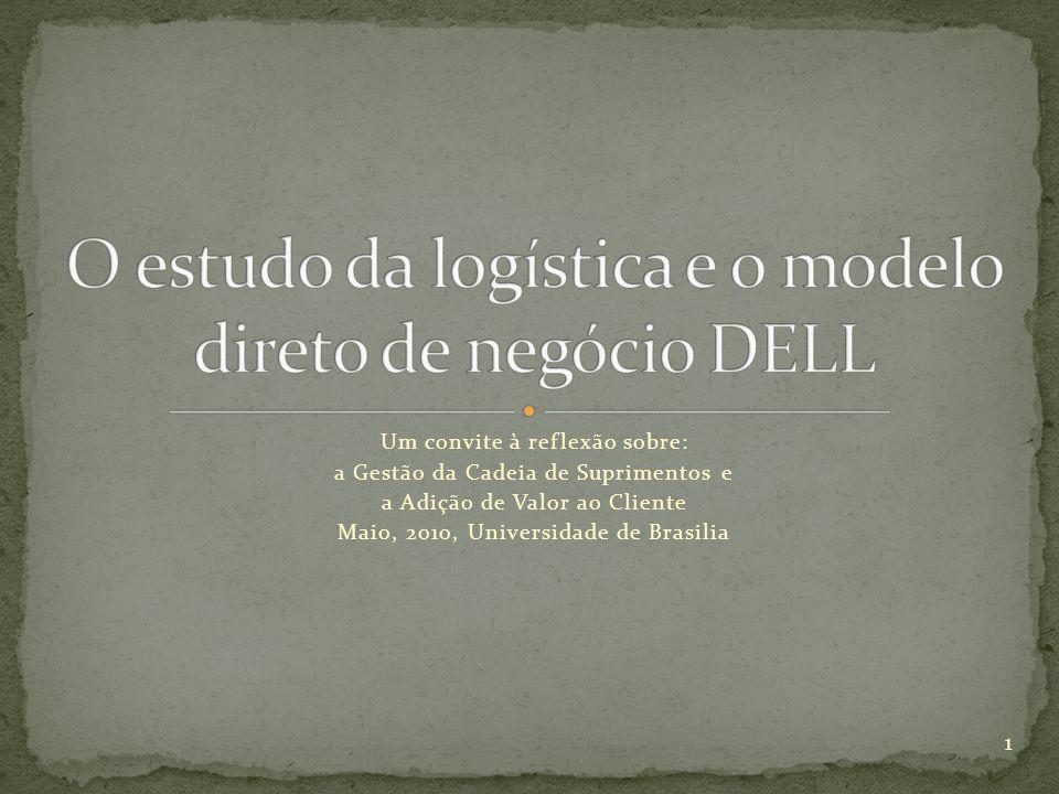Um convite à reflexão sobre: a Gestão da Cadeia de Suprimentos e a Adição de Valor ao Cliente Maio, 2010, Universidade de Brasilia 1