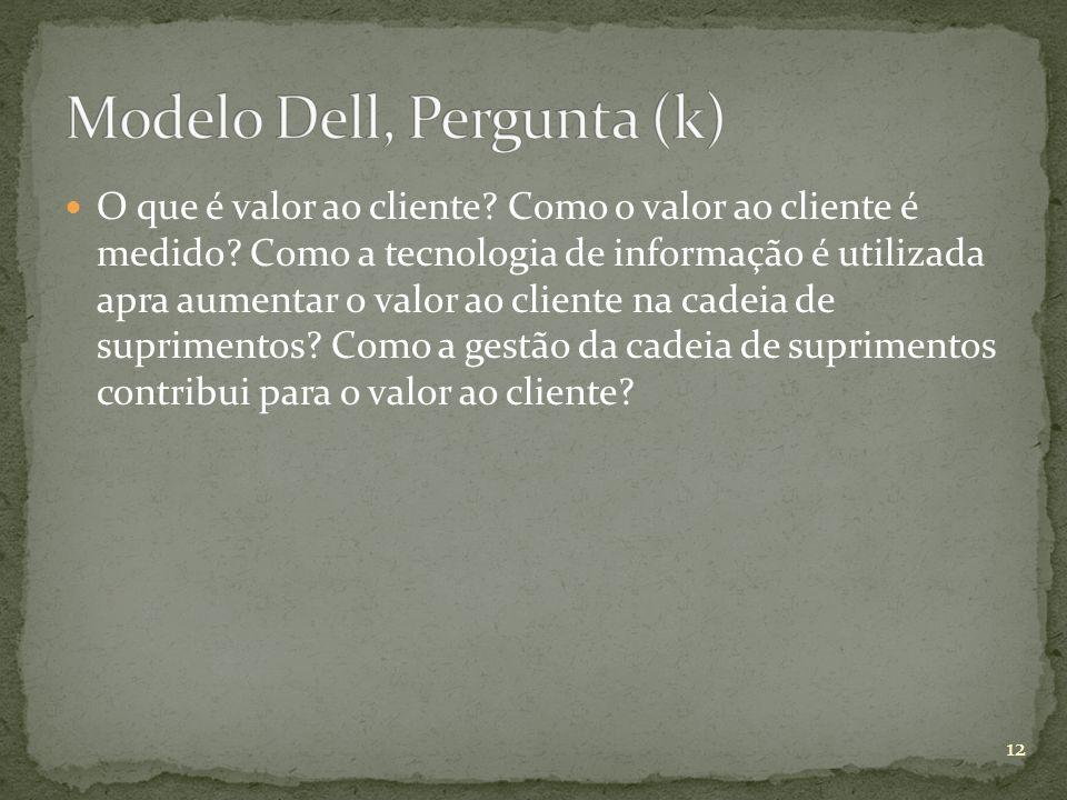O que é valor ao cliente? Como o valor ao cliente é medido? Como a tecnologia de informação é utilizada apra aumentar o valor ao cliente na cadeia de