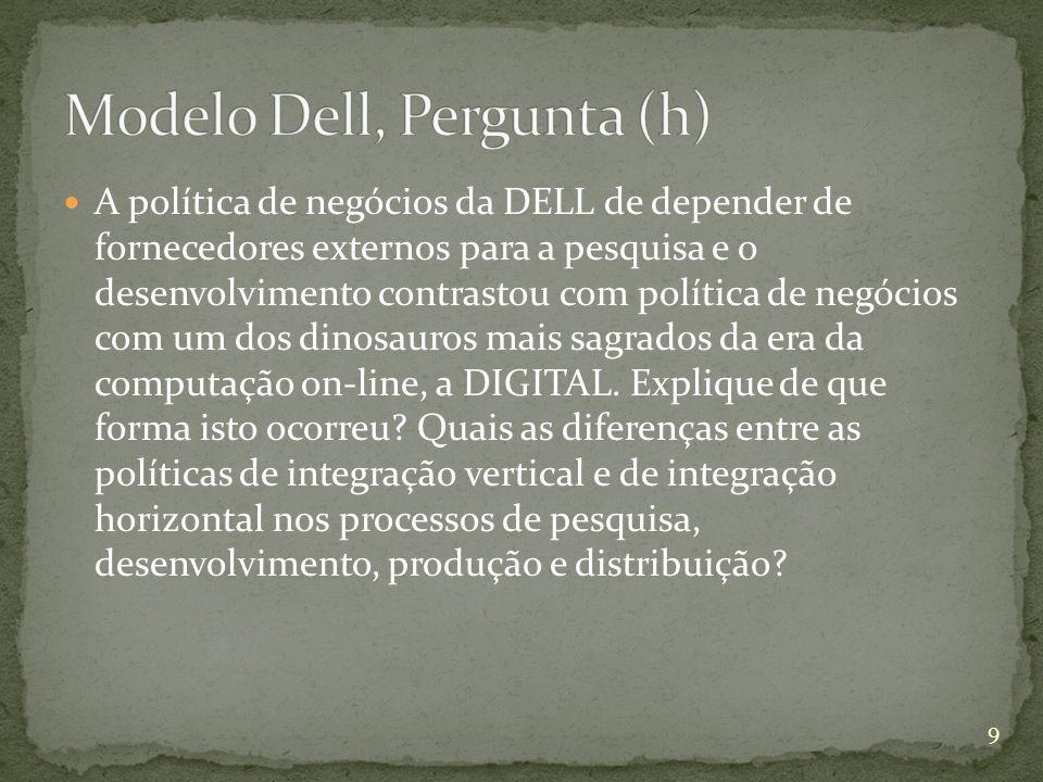 A política de negócios da DELL de depender de fornecedores externos para a pesquisa e o desenvolvimento contrastou com política de negócios com um dos