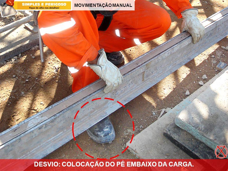 MOVIMENTAÇÃO MANUAL DESVIO: COLOCAÇÃO DO PÉ EMBAIXO DA CARGA.