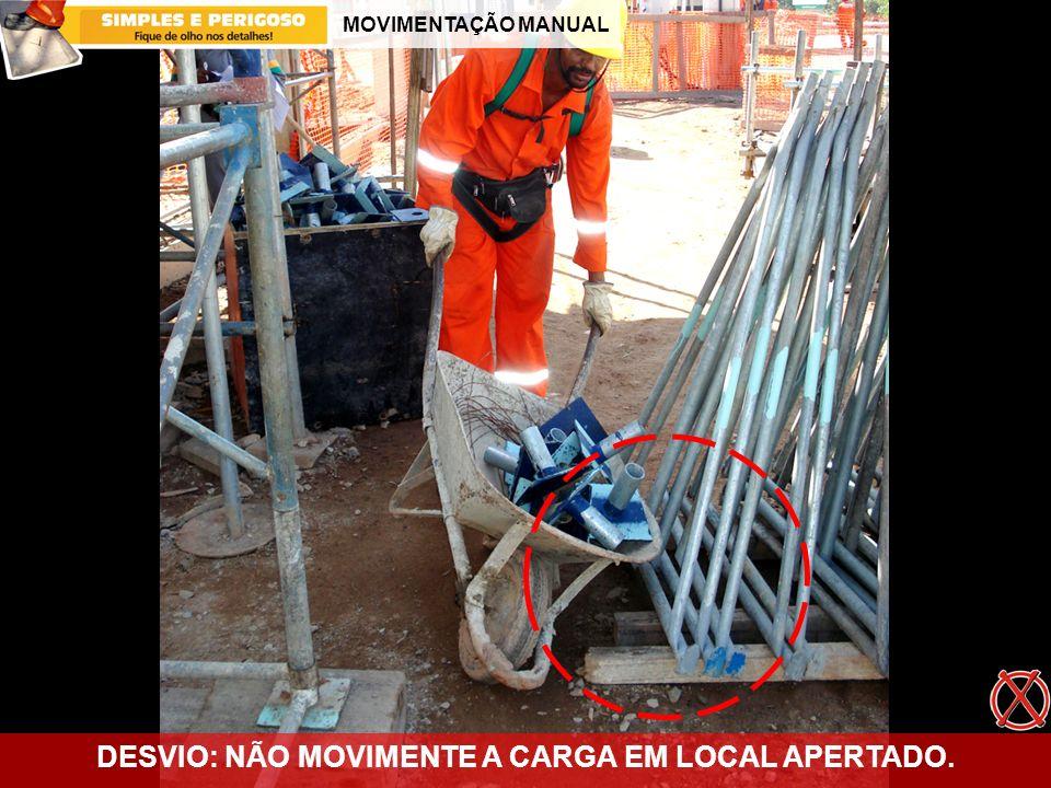 MOVIMENTAÇÃO MANUAL DESVIO: NÃO MOVIMENTE A CARGA EM LOCAL APERTADO.