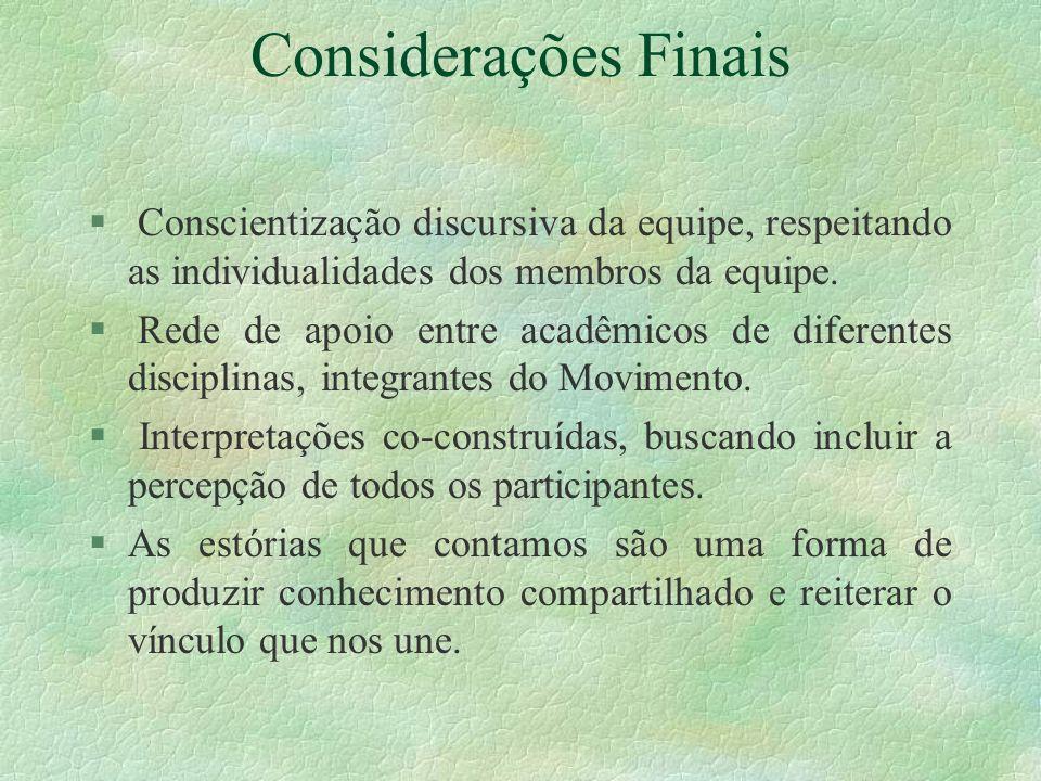 Considerações Finais § Conscientização discursiva da equipe, respeitando as individualidades dos membros da equipe.