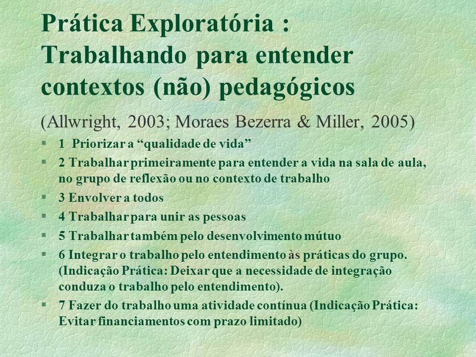 Prática Exploratória : Trabalhando para entender contextos (não) pedagógicos (Allwright, 2003; Moraes Bezerra & Miller, 2005) §1 Priorizar a qualidade de vida §2 Trabalhar primeiramente para entender a vida na sala de aula, no grupo de reflexão ou no contexto de trabalho §3 Envolver a todos §4 Trabalhar para unir as pessoas §5 Trabalhar também pelo desenvolvimento mútuo §6 Integrar o trabalho pelo entendimento às práticas do grupo.