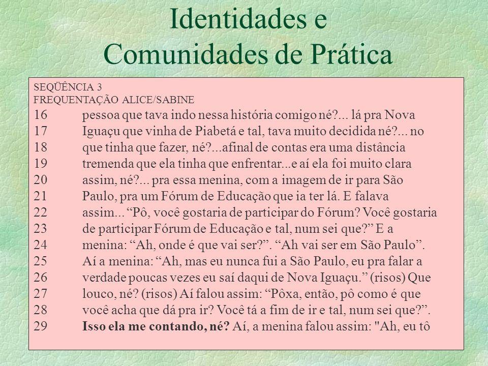 Identidades e Comunidades de Prática § Identificação no corpus de narrativas nucleares/ ações complicadoras § Estudo da identidade na prática (Wenger,