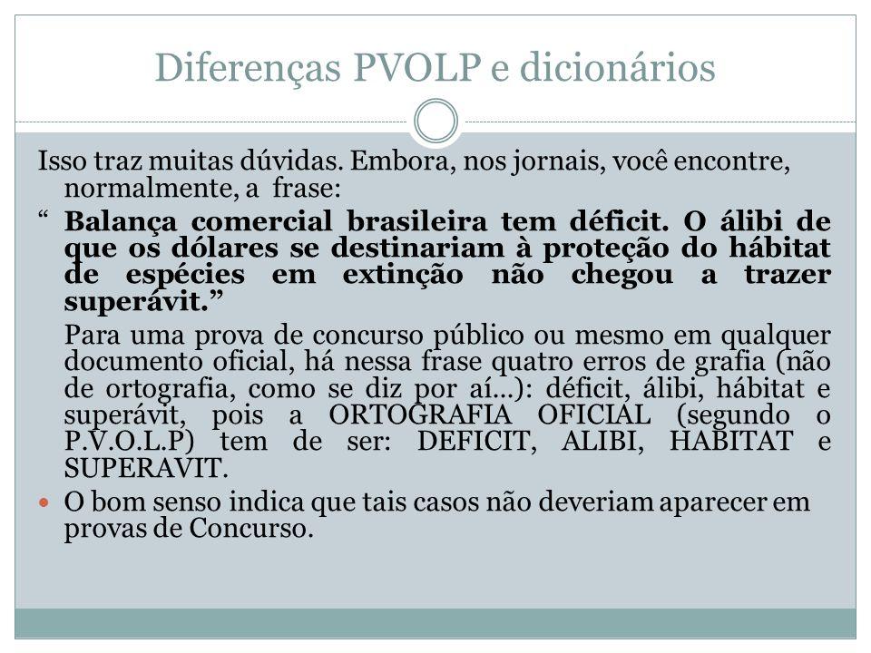 Diferenças PVOLP e dicionários Isso traz muitas dúvidas. Embora, nos jornais, você encontre, normalmente, a frase: Balança comercial brasileira tem dé