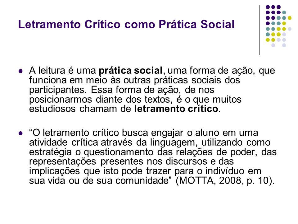 Letramento Crítico como Prática Social A leitura é uma prática social, uma forma de ação, que funciona em meio às outras práticas sociais dos particip