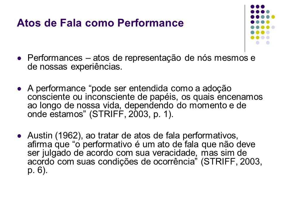 Atos de Fala como Performance Performances – atos de representação de nós mesmos e de nossas experiências. A performance pode ser entendida como a ado